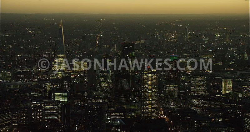 London Aerial Footage of City Skyline at night.
