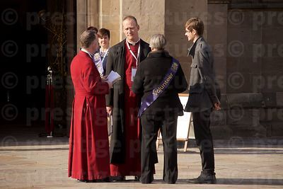Dean of Leicester Cathedral David Monteith Talking to The Revd Canon Johannes Arens