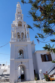 Campanile of The church of the Archangel Michael, Archangelos, Rhodes, Dodecanese Islands, Greece.