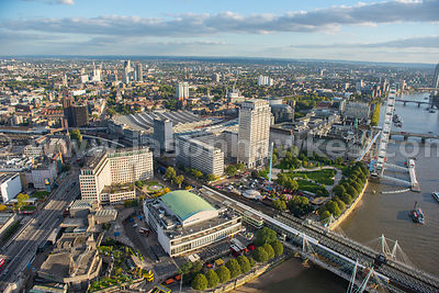 Aerial view of the Royal Festival Hall and the Shell Building, London