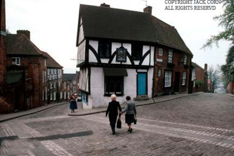England, Lincoln street scene,two women