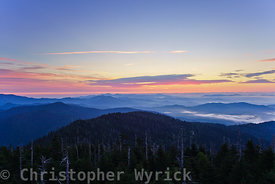 First morning's light from Clingman's Dome