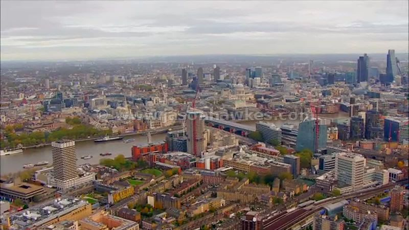 Aerial footage of Southwark, London