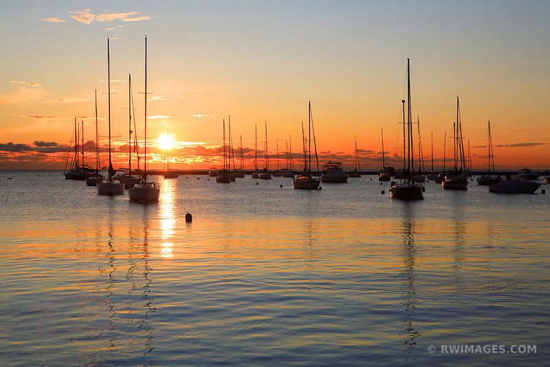 SAIL BOATS IN MONROE HARBOR AT SUNRISE DOWNTOWN CHICAGO ILLIINOIS COLOR