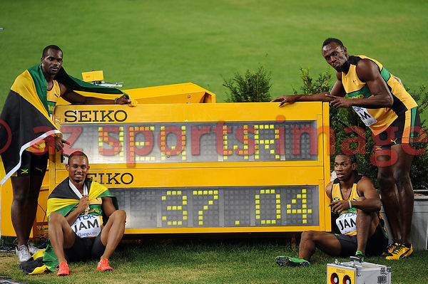 The Jamaican 4x100m team set a new world record of 37.04 at the 2011 IAAF World Championships