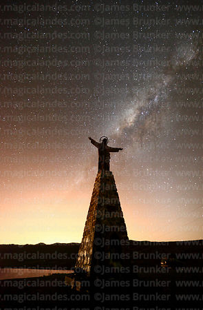 Christ statue, Laguna Estrellani and Milky Way Galactic Centre, La Cumbre, Cordillera Real, Bolivia