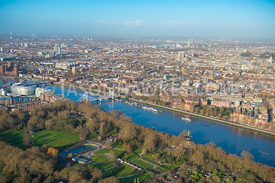 Aerial view of London, Battersea, Battersea Park towards Chelsea Physic Garden, Chelsea.