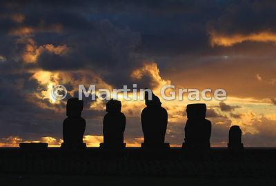 The five Vai Uri (Dark Water) moai at sunset, Tahai complex, Easter Island