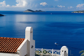 Kalkan Bay and Snake and Mouse Islands, Kalkan, Lycian Coast, Turkey, Asia.