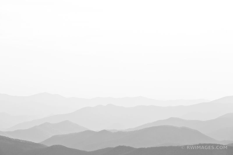 SMOKY MOUNTAINS RIDGES BLACK AND WHITE