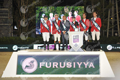 Belgium team during Furusiyya FEI Nations Cup Jumping Final competition at CSIO5* Barcelona at Real Club de Polo, Barcelona - Spain