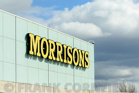 EDINBURGH, SCOTLAND – APRIL 16, 2016: Exterior view of the Morrisons supermarket at the Gyle Centre located to the west of Edinburgh.