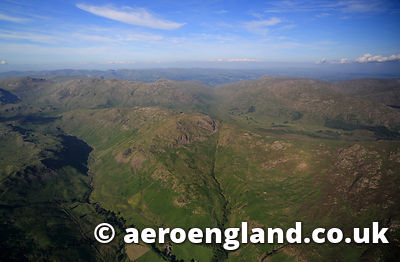 .aerial photograph of Hardknott Pass in the Lake District Cumbria England UK