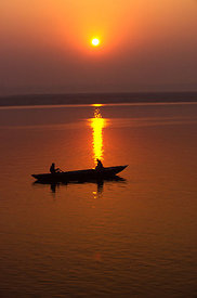 Sunrise over the River Ganges at Varanasi, India