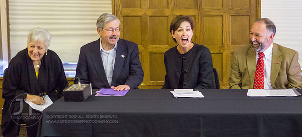 Sally Mason, President, University of Iowa; Gov. Terry Branstad; Lt. Gov. Kim Reynolds; and Steven Leath, President, Iowa State University; entertain questions from the press at the news conference proceding their speeches for the STEM Round Table Discussions. ?A Celebration of Science, Technology, Engineering and Mathematics (STEM) and FIRST in Iowa? kicked off at an event at the Iowa Memorial Union on Saturday, September 8, 2012 in Iowa City. (Justin Torner/Freelance)
