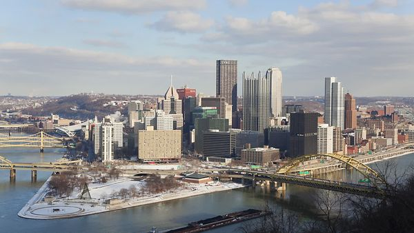 Medium Shot: Snow Scattered Morning Looking Over The Allegheny & Monongahela