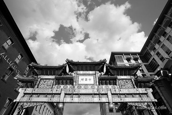 FRIENDSHIP ARCHWAY CHINATOWN GATE WASHINGTON DC BLACK AND WHITE