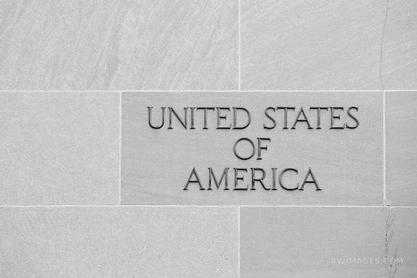WALL INSCRIPTION UNITED STATES OF AMERICA WASHINGTON DC BLACK AND WHITE