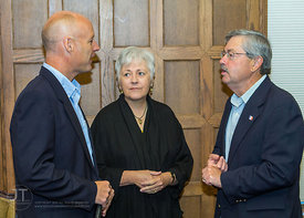 Ken Johnson, Acting Chief Programs Officer, FIRST; Sally Mason, President, University of Iowa; and Gov. Terry Branstad; briefly intermingle proceding their speeches for the STEM Round Table Discussions. ?A Celebration of Science, Technology, Engineering and Mathematics (STEM) and FIRST in Iowa? kicked off at an event at the Iowa Memorial Union on Saturday, September 8, 2012 in Iowa City. (Justin Torner/Freelance)