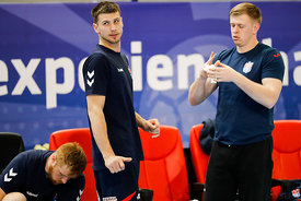Peter Djordjic and Ivan Matckevich of team Meshkov Brest training during the Final Tournament - Final Four - SEHA - Gazprom league, Skopje, 12.04.2018, Mandatory Credit ©SEHA/ Stanko Gruden