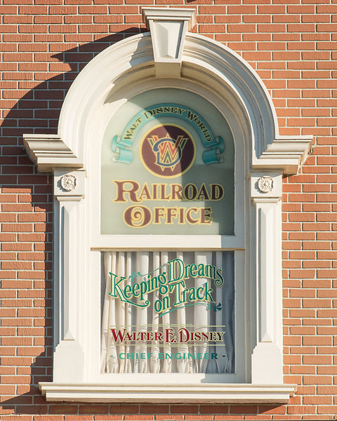 Walt Disney's Office Window at the Main Street USA Train Station