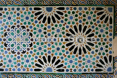 Sixteenth century Morisco tiling in the Mexuar (council chamber), Nasrid Palaces, Alhambra, Granada, Andalusia, Spain