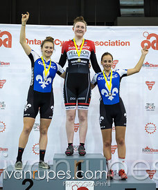 Junior Women Sprint Podium. 2016/2017 Track O-Cup #3/Eastern Track Challenge, Mattamy National Cycling Centre, Milton, On, February 11, 2017