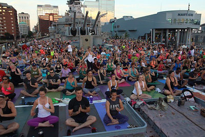 Yoga on the USS Wisconsin  photos