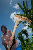 Young boy working in field with a traditional hoe. Kenya.