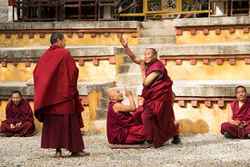 Monks debating at Sera Monastery, Lhasa, Tibet.