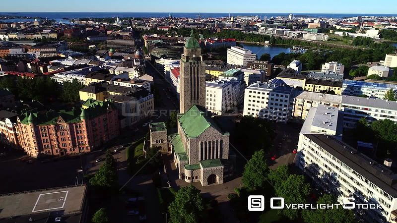 Helsinki Church, Uhd Aerial Tracking View Around the Kallio Cathedral, on a Sunny Summer Morning Dawn, in Helsingfors, Uusimaa, Finland