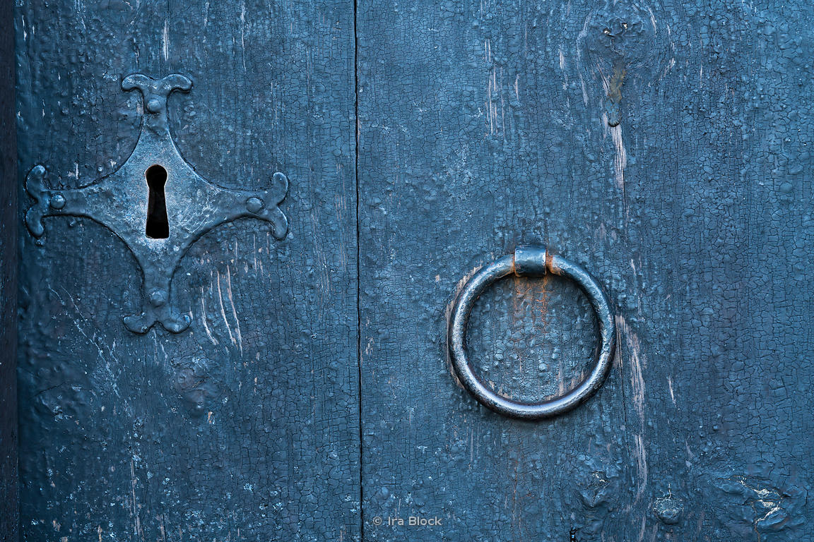 A detail of a door knocker and lock on an old Viking house in Iceland.