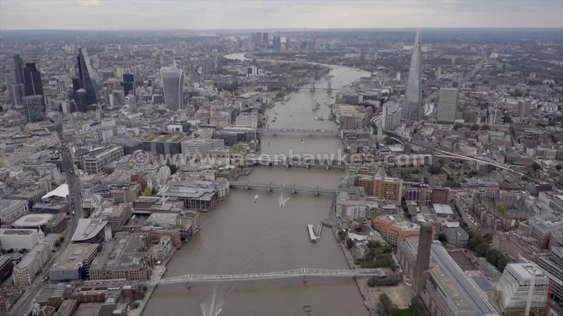 Aerial footage of the River Thames, London