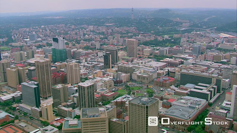 Aerial shot of Pretoria city centre and Church Square. Pretoria Gauteng South Africa