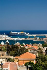 view across rhodes old town to the docks from the clock tower, rhodes, dodecanese islands, Greece.