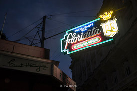 The neon sign of Floridita, an historic fish restaurant and cocktail bar in the older part of Havana, Cuba.  One of the favourite hangouts of Ernest Hemingway.