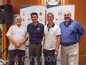 Mr Bill Gasson, Co-Chairman TOG 2018; Mr Surapol Utintu, VP External Affairs, Thai Beverage; Mr Nim Assukul, Co-Chairman TOG 2018; Mr Scott Finsten, Ocean Marina Harbourmaster. Top of the Gulf Regatta 2018.