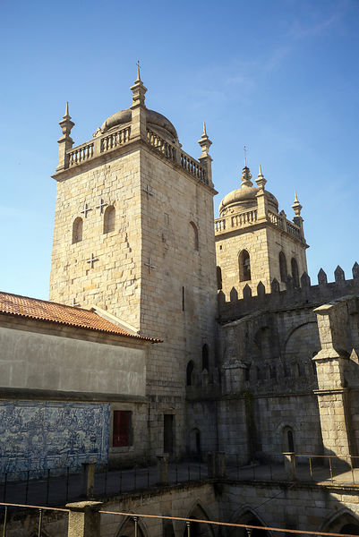 The towers to the Cloisters of the Porto Cathedral (The Porto Cathedral (Sé do Porto), Porto, Portugal.