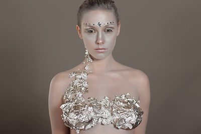 Beauty shoot with Jo Evans in studio using silver paint and silver leaf