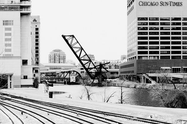 KINZIE BRIDGE CHICAGO ILLINOIS BLACK AND WHITE