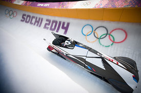 USA's Steven Holcomb pilots a run during a Men's Two-man Bobsleigh training session at the Sliding Center Sanki during Sochi 2014 Olympic Games, in Sochi, Russia on February 13, 2014. The Sochi 2014 Olympic Games run from 07 to 23 February 2014. Photo by Nicolas Gouhier