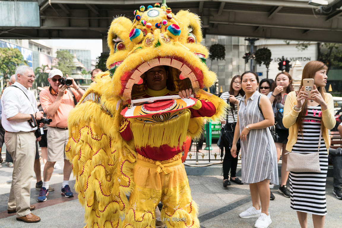 A performer at the Erawan Shrine on Chinese New Year celebrations.