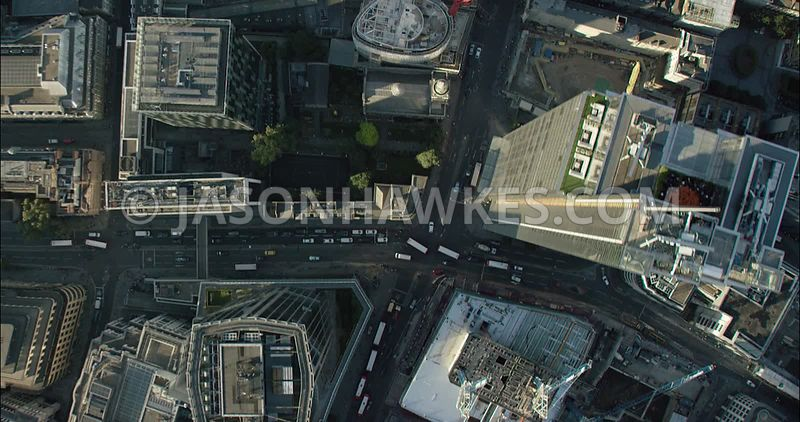 London Aerial Footage of Heron Tower and Liverpool Street Station.