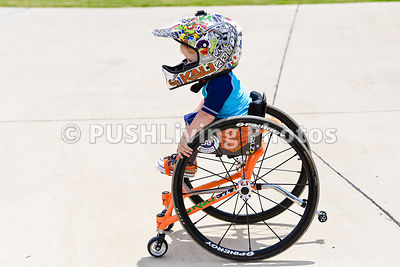 Young boy in a wheelchair at a sports clinic