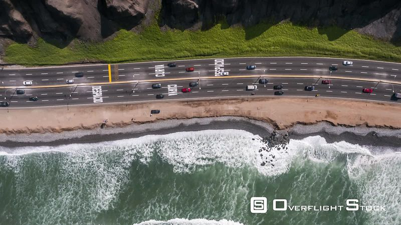 Aerial view of Motorway, Circuto de Playa in Milaflores district, Lima, Peru