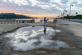A reflection in a puddle by Havana Harbor, Cuba.