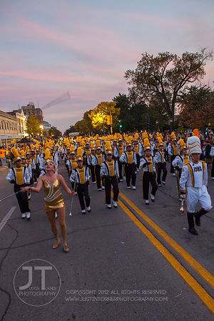 The University of Iowa marching band passes by during the  University of Iowa homecoming Parade in Iowa City on Friday September 28, 2012. (Justin Torner/Freelance)