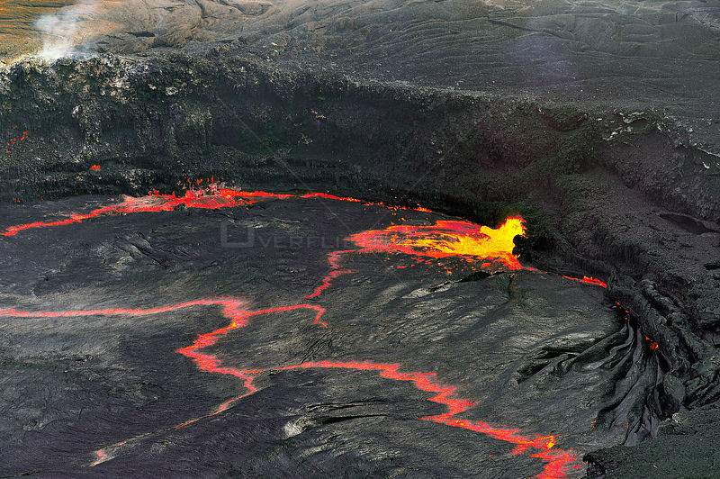 Aerial view of hot lava in the crater of the Erta ale volcano (the smoking mountain) in the Afar desert, Northern Ethiopia, February 2009