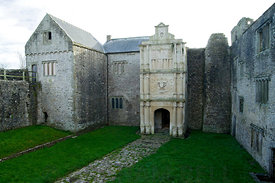 Ornate Renaissance entrance to Old Beaupre Castle, Vale of Glamorgan, South Wales.
