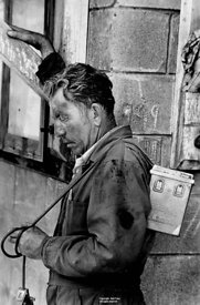 Tired coal miner with battery